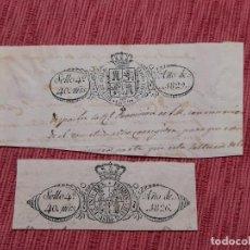 Francobolli: 2 X SELLO 4º, 40 MARAVEDIS, FERNANDO VII AÑOS 1826 Y 1829. Lote 233588210