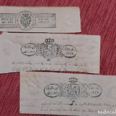 Francobolli: 3 X SELLO 4º, 40 MARAVEDIS, FERNANDO VII AÑOS 1825, 1828 Y 1829. Lote 233588795