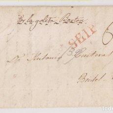 Sellos: PREFILATELIA. CARTA ENTERA. HABANA, CUBA, A BRISTOL. POR LA GOLETA BARTON. 1839. Lote 236453270
