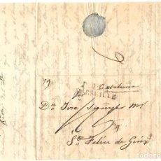 Selos: 1827 CARTA COMPLETA PREFILATELIA DE MARSELLA A SANT FELIU GUÍXOLS (GIRONA). PORTE PAGADO. Lote 238424240