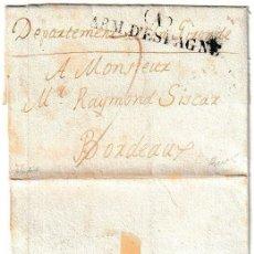 Timbres: 1823-27CA. CARTA ENVUELTA PREFILATELIA EJÉRCITOS FRANCESES EN ESPAÑA (A) / ARM. D'ESPAGNE, CATALUÑA. Lote 240218540