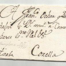 Selos: CIRCULADA Y ESCRITA 1731 DE PAMPLONA A CORELLA NAVARRA. Lote 242364925