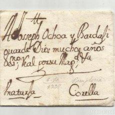 Selos: CIRCULADA Y ESCRITA 1728 DE PAMPLONA A CORELLA NAVARRA. Lote 242436390
