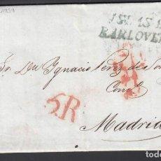 "Selos: HABANA. CUBA A MADRID, MARCA ""ISLA DE BARLOVENTO"". EN VERDE 13 FEB.1838, TASADA.. Lote 243263540"