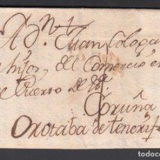 Timbres: MADRID - LA OROTAVA. TENERIFE, VIA A CORUÑA, MARCA ESPAÑA. EN ROJO. 26 DIC.1796.. Lote 243417580