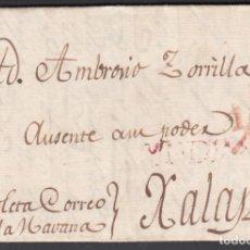 """Timbres: HABANA.(CUBA) A MÁLAGA, MARCAS. """"YNDIAS"""". EN ROJO. TASADA ½ EN ROJO. FECHA 1806.. Lote 243419875"""