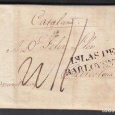 "Timbres: HABANA. (CUBA) A BARCELONA, MARCA ""ISLAS DE BARLOVENTO"" EN NEGRO. TASADA. 1 SEP. 1818.. Lote 243421260"
