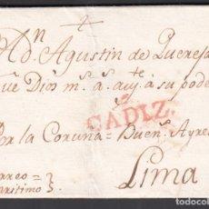 """Timbres: CADIZ A LIMA. (PERÚ), DIRIGIDA POR LA CORUÑA VÍA BUENOS AIRES. MARCA """"CÁDIZ"""" EN ROJO.. Lote 243430720"""