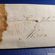 Sellos: MONFORTE ALICANTE CARTA PREFILATELIA NOVELDA 1835. Lote 246829800