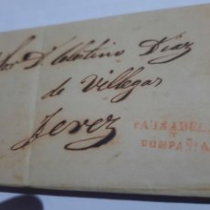Timbres: CARTA PREFILATELIA.JEREZ DE LA FRONTERA .CADIZ.1854.COMPAÑIA PAUSADELA. Lote 251436520