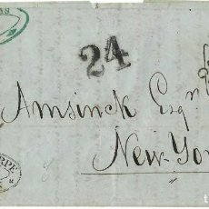 Sellos: 1857 (20 S) CARTA TRANSATLÁNTICA DE CÁDIZ A NUEVA YORK. MARCA ENCAMINADOR VÍA PAQUEBOTES BRTITÁNICOS. Lote 251763195