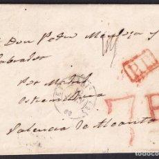 Francobolli: 1851. PARÍS A VALENCIA DE ALCÁNTARA. FECHADOR Y P.P. RECUADRADO. PORTEO 7 R. 12 DÉCIMAS. TRÁNSITO.. Lote 251966045
