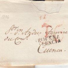Sellos: PREFILATELIA CARTA DE REQUENA -VALENCIA- A CUENCA -1834. Lote 252803535