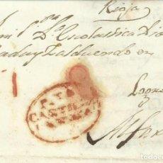 Francobolli: PIEDRAHITA - ALFARO. CARTA COMPLETA Y CIRCULADA. FECHA 12 DE MAYO 1823. Lote 253607405