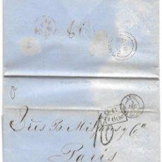 Sellos: 1857 LA HABANA (CUBA) A PARÍS. CARTA PREFILATELIA OFICINA POSTAL BRITÁNICA HAVANA. VÍA INGLATERRA. Lote 264257716