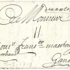 Timbres: 1701 PREFILATELIA CARTA NANTES A GANTE (TERRITORIOS ESPAÑOLES FLANDES) PRECURSORAS. GUERRA SUCESIÓN. Lote 266034418