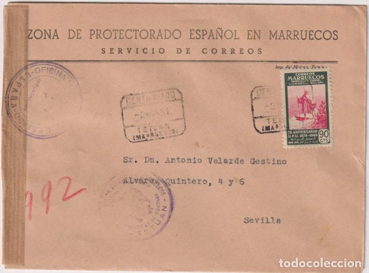 CARTA CON MEMBRETE. ZONA DE PROTECTORADO ESPAÑOL EN MARRUECOS. CARTA DE TETUÁN A SEVILLA DEL 2 DE NO (Filatelia - Sellos - Prefilatelia)
