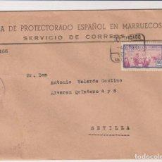 Sellos: CARTAS CON MEMBRETE. ZONA DE PROTECTORADO ESPAÑOL EN MARRUECOS. CARTA DE TETUÁN A SEVILLA DEL 4 DE M. Lote 267222659