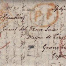 Sellos: PREFILATELIA DE IRLANDA DIRIGIDA AL DUQUE DE CIUDAD RODRIGO EN GRANADA -1844-. Lote 267331714