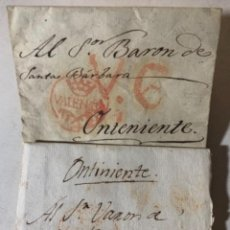 Timbres: DOS CARTAS - SOBRES PREFILATÉLICOS - BARÓN DE SANTA BÁRBARA - ONTENIENTE - VALENCIA - AÑOS 1812-13. Lote 267415104