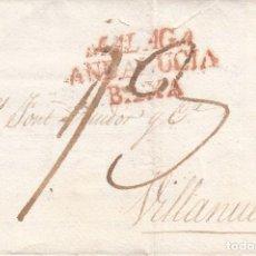 Selos: PREFILATELIA CARTA DE MÁLAGA MARCA NUM. 11 A VILANOVA I LA GELTRÚ - 1823 -SEÑAL DE DESINFECCIÓN. Lote 268032254