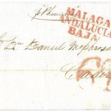 Sellos: CARTA PREFILATELIA 1841. MÁLAGA A CÁDIZ. CORREO MARÍTIMO. VAPOR PHENICIO. Lote 268187659