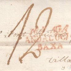 Sellos: PREFILATELIA CARTA DE MALAGA MARCA NUM 11 A VILANOVA I LA GELTRÚ -1823---------DESINFECTADA-------PO. Lote 268852694