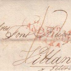 Sellos: PREFILATELIA CARTA DE MALAGA MARCA NUM. 11 A VILANOVA I LA GELTRÚ -1821- DESINFECTADA-. Lote 268858379