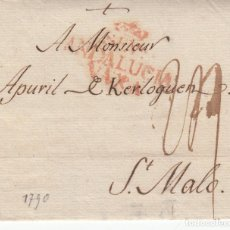 Sellos: PREFILATELIA ENVUELTA DE MALAGA MARCA NUM. 10 - 1790- CON DESTINO FRANCIA. Lote 268859369