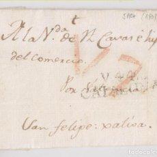 Selos: PREFILATELIA. ENVUELTA. VIC, BARCELONA. 1809. A SAN FELIPE DE JÁTIVA, XÁTIVA, VALENCIA. Lote 268988809