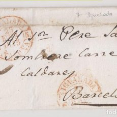 Timbres: PREFILATELIA. ENVUELTA. IGUALADA AUN SOMBRERERO DE BARCELONA. 1845. DOBLE ESTAMPACIÓN BAEZA. Lote 268992534