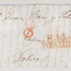 Selos: PREFILATELIA. ENVUELTA REUS, TARRAGONA, A JÁTIVA, XÁTIVA, VALENCIA. 1842. PORTEO RECTIFICADO. Lote 268993024