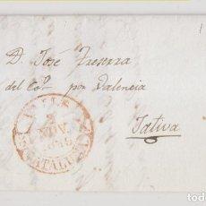 Selos: PREFILATELIA. ENVUELTA. 1846. BAEZA DE VALLS, TARRAGONA, A JÁTIVA, XÁTIVA, VALENCIA.. Lote 268993659