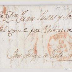 Selos: PREFILATELIA. ENVUELTA REUS, TARRAGONA, A JÁTIVA, XÁTIVA, VALENCIA 1844 DORSO PRECIOSO BAEZA LLEGADA. Lote 269007439