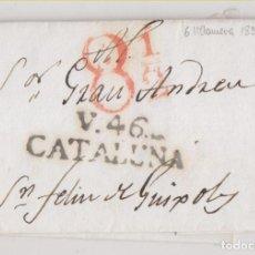 Francobolli: PREFILATELIA. CARTA ENTERA. VILANOVA I LA GELTRÚ. 1834. BARCELONA A SANT FELIU DE GUIXOLS, GIRONA. Lote 269491813