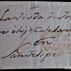 Sellos: PREFILATELIA VILLAJOYOSA VALENCIA PORTE 6 MANUSCRITO ENVULETA APROX 1816. Lote 269646398