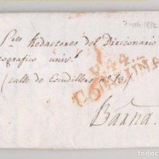 Sellos: PREFILATELIA. CARTA ENTERA. VIC A LOS REDACTORES DEL DICCIONARIO GEOGRÁFICO. 1832. LEER NOTA. Lote 270253123