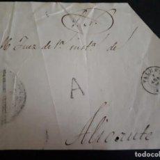 Sellos: PREFILATELIA 1845. FRONTAL ALICANTE.. Lote 271396158