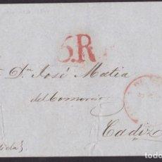 Francobolli: 1847. PUERTO RICO A CÁDIZ. FECHADOR Y PORTEO 5R. MNS. DECIDIDA. DESINFECTADA. MUY RARA ENVUELTA.. Lote 275231748