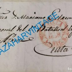 Francobolli: SEVILLA, 1850, CARTA COMPLETA A CEUTA, A UN CORONEL DEL 2º BATALLON LIGEROS DE AFRICA. Lote 275884743