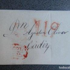Sellos: PREFILATELIA ENVUELTA DE CARTA MARCA DE ALCOY Y BAEZA CÁDIZ 30/12/1842 PORTEO 11. Lote 275919308
