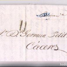 Sellos: PREFILATELIA. CARTA ENTERA. SEVILLA A CÁCERES. 1839. Lote 277563563