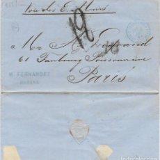 Sellos: 1868 CARTA ENVUELTA PREFILATELIA HABANA, CUBA A FRANCIA. CORREO MARÍTIMO. PAQUEBOTES ESTADOS UNIDOS. Lote 286862623