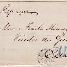 Sellos: CARTA DE PARIS A CADIZ CON PORTEO DE 4 REALES EN AZUL Y FECHADOR FRANCÉS. Lote 288700338