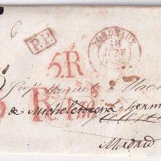 Francobolli: PREFILATELIA. CARTA ENTERA. BURDEOS A VALENCIA Y MADRID. DOBLE PORTEO Y TASA EN MARAVEDÍS. 1836. Lote 290855878