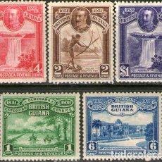 Sellos: GUYANA BRITANICA SERIE X5 SELLOS MINT NATIVOS CATARATA 1931. Lote 294276088