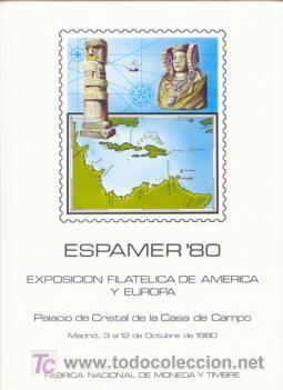 DOCUMENTO FILATELICO F.N.M.T. Nº12 1980 ESPAMER-80 EXPOSICION FIL.AMERICA/ EUROPA (Sellos - España - Pruebas y Minipliegos)
