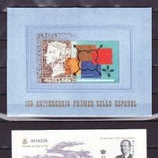Sellos: ESPAÑA PRUEBA 71A, 3711A/G SIN CHARNELA, EN CARPETA OFICIAL, 150º ANIVº DEL PRIMER SELLO ESPAÑOL,. Lote 159727538