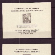 Sellos: ESPAÑA HR 18/19 - AÑO 1974 - CENTENARIO DE LA EMISION ALEGORIA DE LA JUSTICIA Y DEL CORREO CARLISTA . Lote 19170009