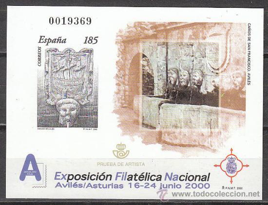 PRUEBA OFICIAL EDIFIL Nº 72, EXFILNA 2000, AVILES (Sellos - España - Pruebas y Minipliegos)